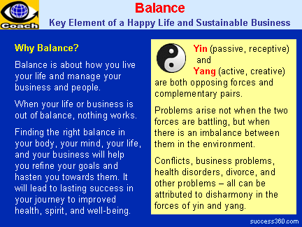 BALANCE - A Key Element of a Happy Life and a Sustainable Business