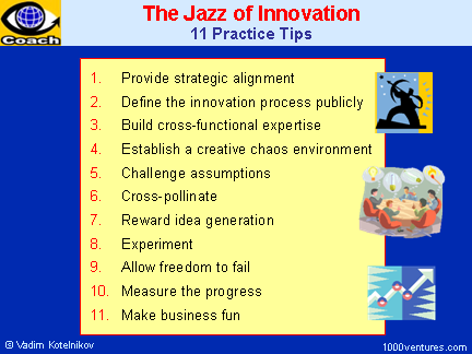 Innovation Management - The Jazz of Innovation: 11 Practice Tips