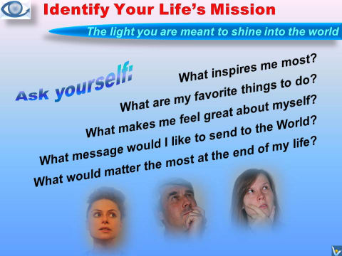 Life Mission: How To Identify Your Life Purpose - Questions To Ask Yourself, Vadim Kotelnikov, emfographics