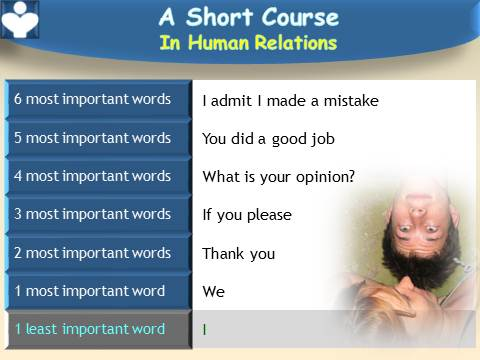 Most Important Words - a Short Course in Human Relations